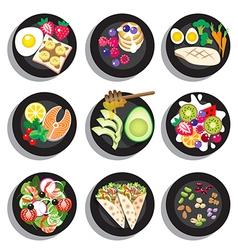 Set of delicious clean food menu vector