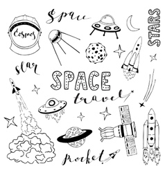 Set of elements on the space theme vector image