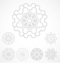 set of geometric outline rosetta ornament vector image