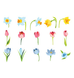 set of spring april flowers for happy easter vector image