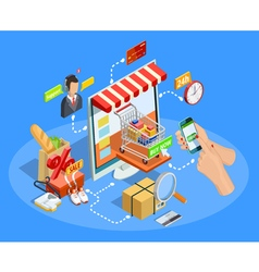 Shopping E-commerce Concept Isometric Poster vector image