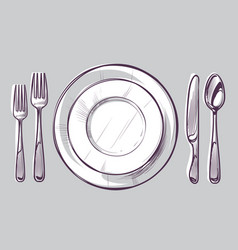sketch plate fork and knife dinner cutlery vector image