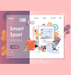 Smart sport website landing page design vector