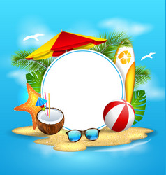 Summer background with sea island beach vector