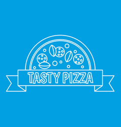 Tasty pizza badge with ribbon icon outline style vector