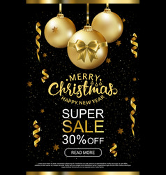 the christmas sale advertising poster for the vector image