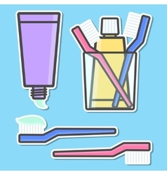 Toothbrush and toothpaste icons vector image