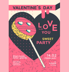 valentines day party poster flyer with lollipop vector image