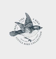 Vintage bird label vector