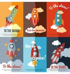 Vintage rocket flat banners composition poster vector