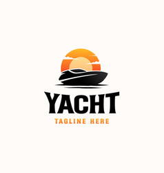 Vintage yacht sunset hipster logo template vector