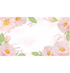 watercolor pink rose frame with rose gold glitter vector image