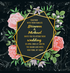 Wedding invitation with flowers and greenery on vector