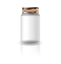 White medicine round bottle with screw lid vector