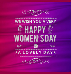 wish you a happy womens day with pink background vector image