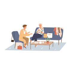woman talking with her girlfriend in cafe sitting vector image