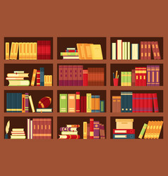 Wooden bookshelves with books vector
