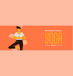yoga day banner woman in tree pose exercise vector image