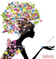 Zodiac sign sagittarius fashion girl vector image
