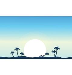 Art of beach landscape silhouette vector