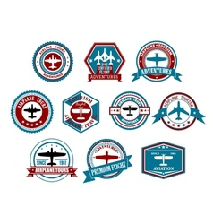 Aviation labels or badges in retro style vector image vector image