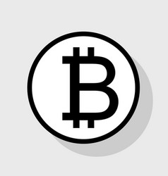 bitcoin sign flat black icon in white vector image vector image