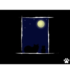 Cat in the night looking vector image