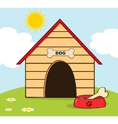 Dog House With Bowl On A Hill vector image