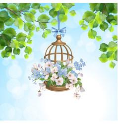 floral bird cage vector image
