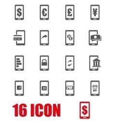 grey mobile banking icon set vector image