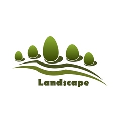 Park garden landscape icon with bushes and trees vector image vector image
