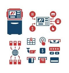 Set color icons of ATM vector image vector image