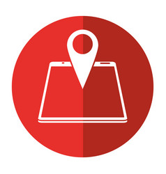 Smartphone pin map location gps shadow vector