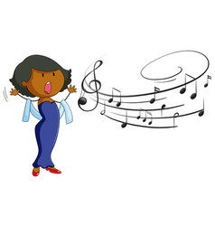 woman singing on white background vector image