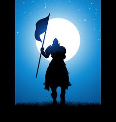 knight bearing a flag vector image vector image