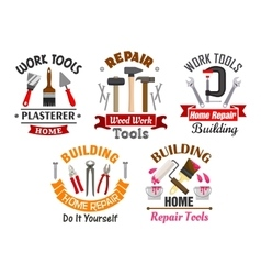 Work tools for repair and building badges set vector image vector image