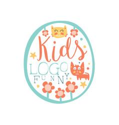 funny kids logo original design baby shop label vector image vector image