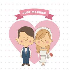 greeting card pattern of hearts of just married vector image