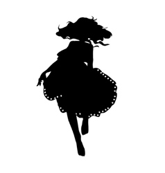 silhouette of a dancing girl in fluffy skirt vector image