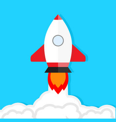 start up launch rocket takes into sky vector image