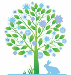 tree with rabbits vector image vector image