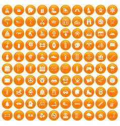 100 children activities icons set orange vector image