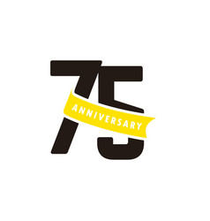 75 years anniversary number with yellow ribbon vector