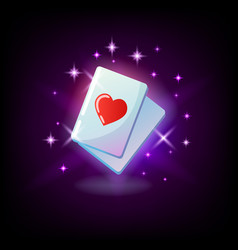 Ace hearts red heart suit card ace slot icon vector
