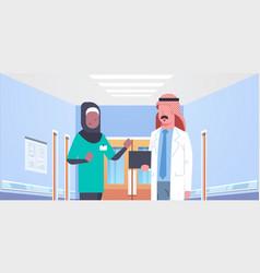 Arab doctor and african arabic nurse medical team vector