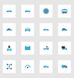 Automobile colorful icons set collection of vector