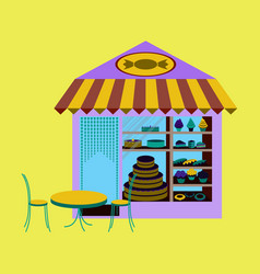 Bakery flat shop with different confectionery vector