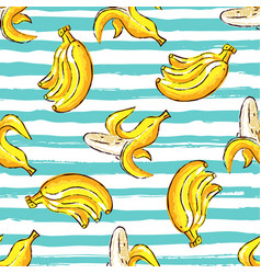 Banana tropics seamless pattern hand-drawn vector