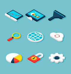 big data isometric objects vector image