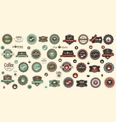 big set for design coffee logosvintage coffee vector image